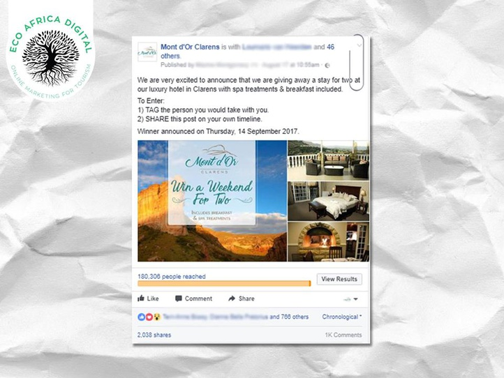 Paid Facebook Ads post on Facebook, Eco Africa Digital provide Paid Social Media services for Tourism Destinations In Africa, includes  Facebook Ads for Guest Houses, Lodges, Hotels and B&B's, Golf Resorts and Island Getaways.